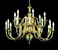 404: Eighteen light two tier Williamsburg brass chandel