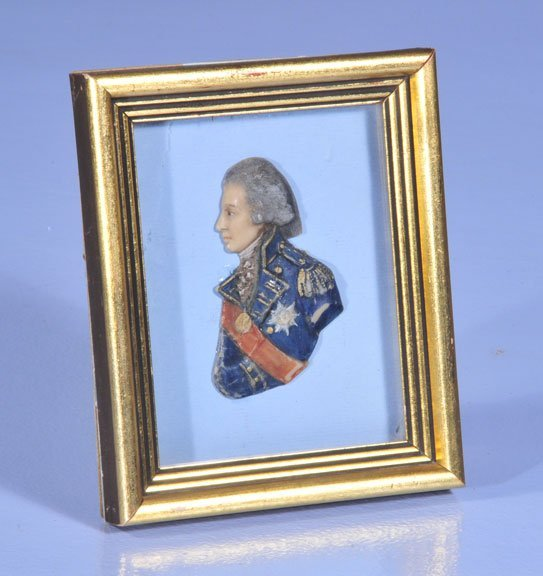 428: Framed wax relief of Lord Nelson hand painted, 6""