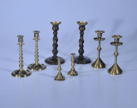 432: Group of three pairs of brass candlesticks, two-7""