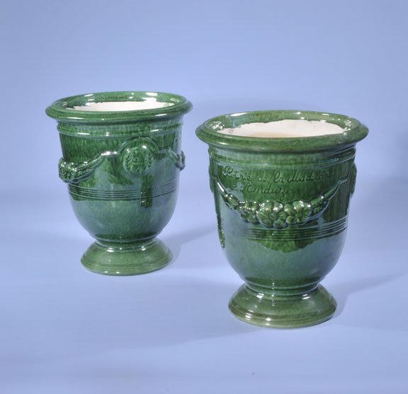 434: Two green glazed Anduze pots with greenery; pots-1