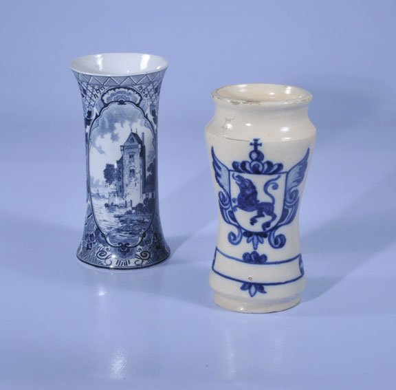 "439: Blue and white Delft vase, 10"" high and an early b"