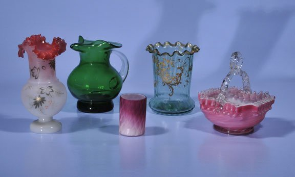 443: Pink art glass basket, As Found (cracked), and a w