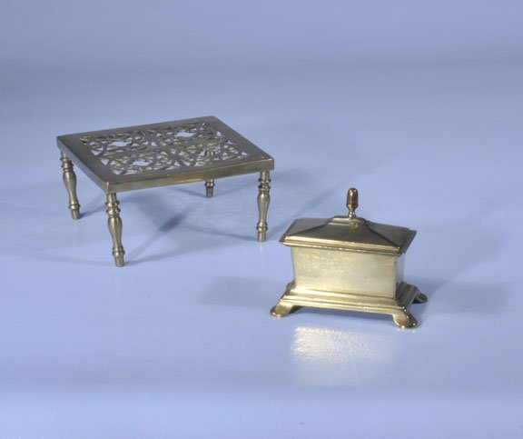 "446: Brass tobacco box, 5"" wide, 3"" deep, 5"" high, and"