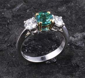 542: Platinum three stone ring by Tiffany & Co. with on