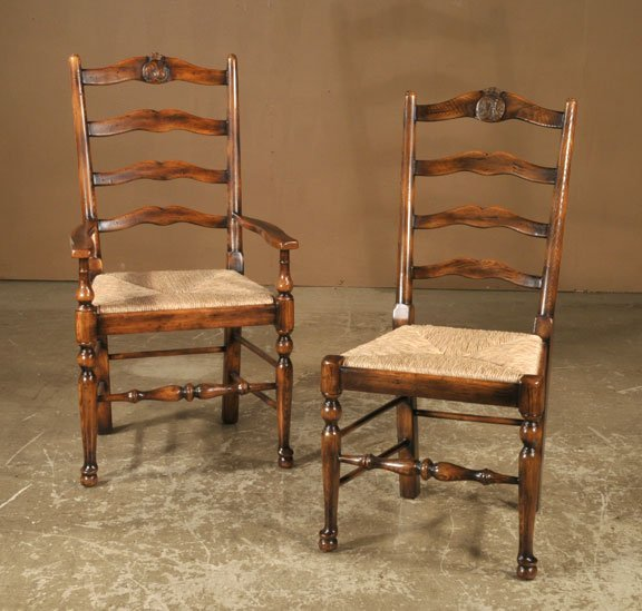 686: Set of six English oak ladder back chairs with rus