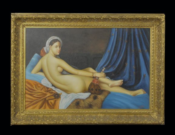 730: Oil on canvas painting depicting reclining nude wo