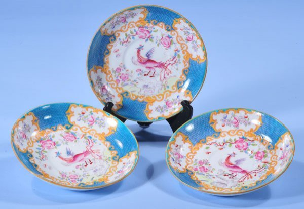 "1002: Group of three 6-1/2"" Minton porcelain dishes wit"