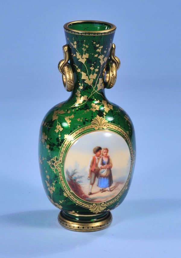 1007: Green art glass vase with oval enamel painting of