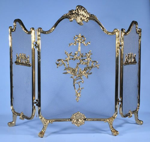 1008: Three section brass folding fire screen on claw f
