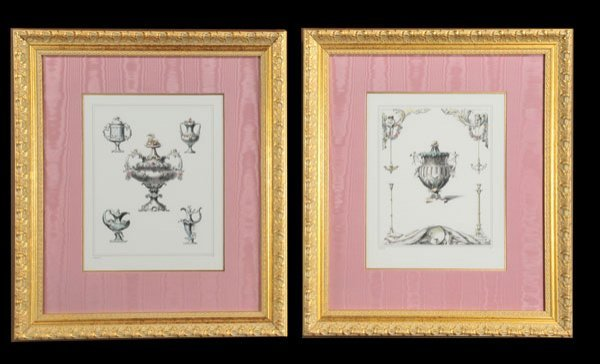 "1010: Pair of framed prints of ""Wright"" vases, copy of"