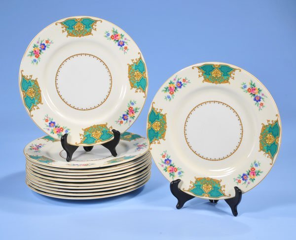 1016: Set of 12 Staffordshire china dinner plates with