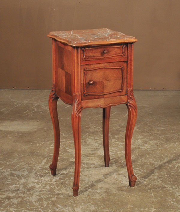 1018: Louis XV walnut marble top bed side cabinet on ca