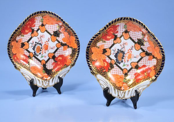 1021: Pair of Royal Crown Derby fan shaped dishes with