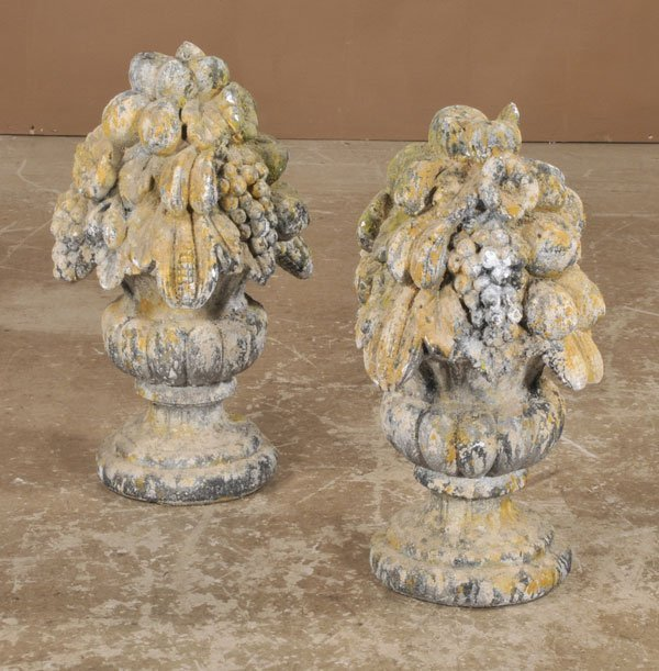 "1022: Pair of French cast stone fruit piers, 24"" high"