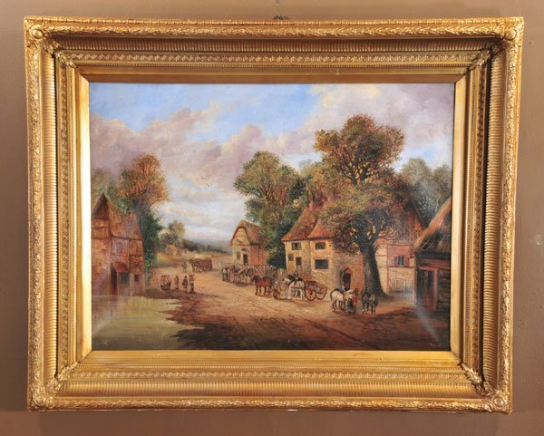1061: 19th century English oil painting on canvas, vill