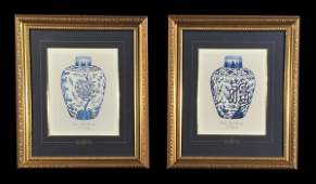 1376 Pair of framed prints of blue and white Ming Dyna