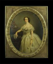255: Fine 19th century oval portrait of a lady, signed