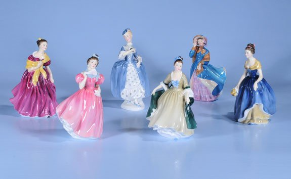 7: Collection of six Royal Doulton figures of women; Ad