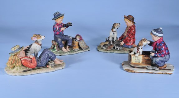 8: Group of four Norman Rockwell porcelain figures, Spr