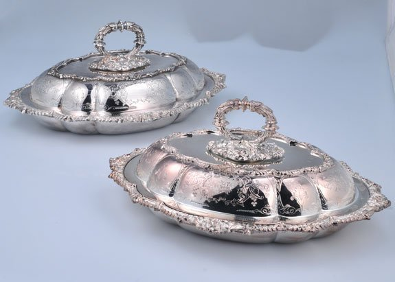 """12: Pair of oval silver plated vegetable dishes, 13"""" wi"""