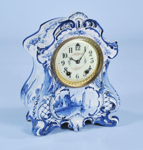 """14: Blue and white French china mantle clock with """"Gilb"""