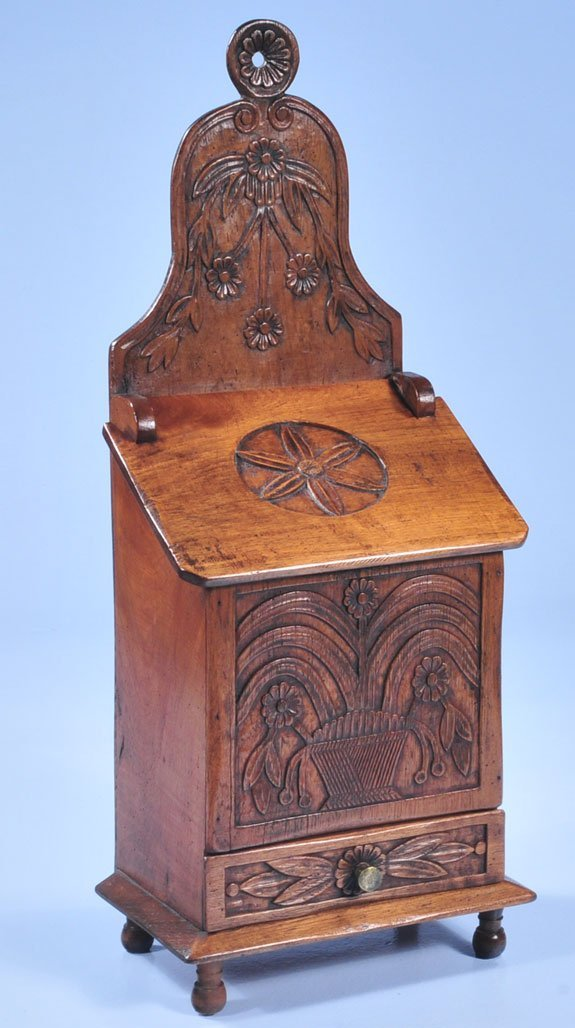 16: Country French walnut salt box with carved front an