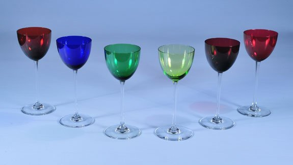 18: Set of six signed Baccarat crystal multicolor Rhine