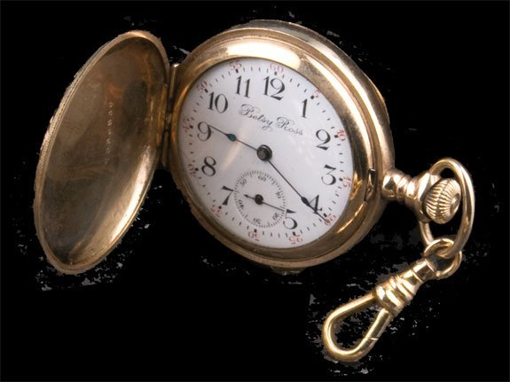 """21: Gold filled hunting case """"Betsy Ross"""" pocket watch"""