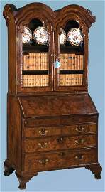 60: Superb Queen Anne walnut double bonnet top bureau b