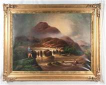 19th century oil on canvas painting, two men fishing