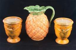 Pair of Anduze terra cotta candleholders and pitcher