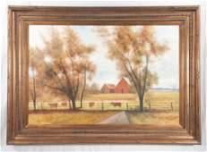Oil painting on canvas, farm scene