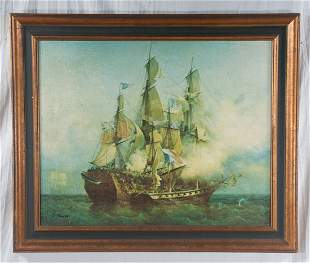 Oil painting, ships at battle