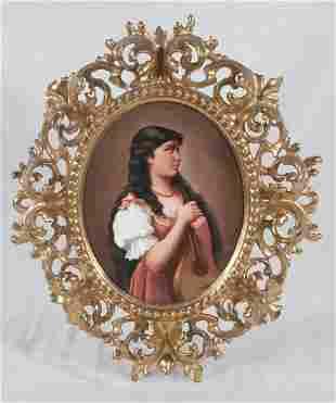 Fine framed Sevres porcelain oval portrait