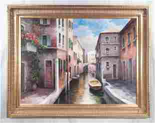 Oil painting on canvas, Venice scene