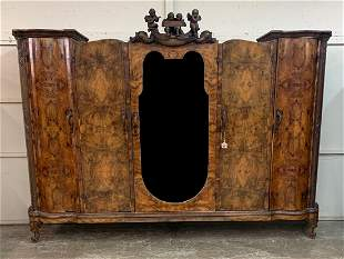 Superb Ventian figural walnut 5 door armoire