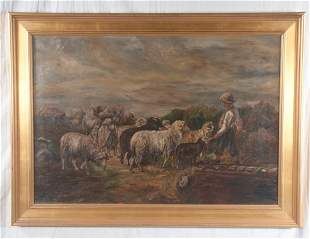 Oil painting on canvas, young shepherd