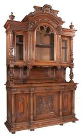 Impressive French walnut hunting lodge cabinet