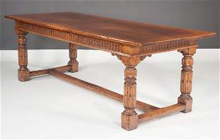 English bench made oak library table