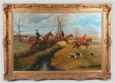 Large oil painting on canvas, hunt scene