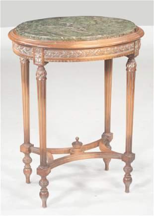 English walnut oval side table