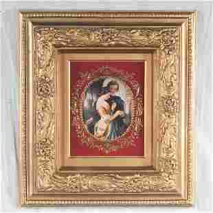 German porcelain plaque with raised gilt highlights