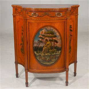 English satinwood shaped front cabinet