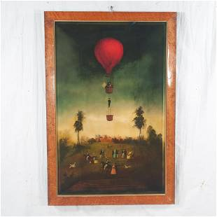 Reverse painting on glass with a hot air balloon