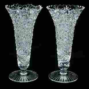 Companion pair of crystal vases