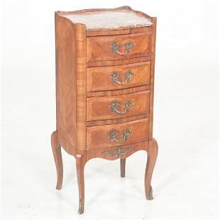 Louis XV style marble top kingswood petite bedside