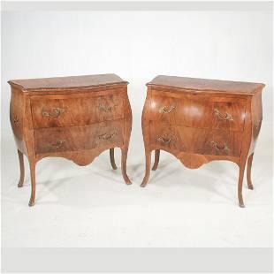 Pair of Italian made Louis XV style walnut commodes