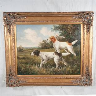 Oil painting on canvas, landscape with two hunting dogs