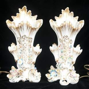 Pair of German porcelain vases with floral design