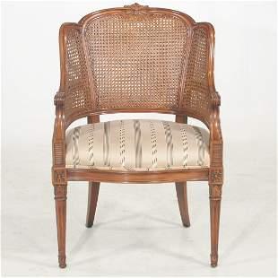 Louis XVI style walnut finish wing chair